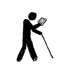 man symbol with tablet vector image