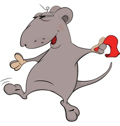 Mouse dance with a scarf cartoon vector image vector image