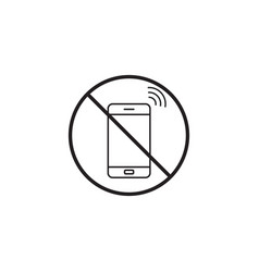 no phone line icon no talking prohibited sign vector image vector image
