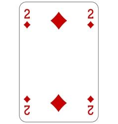 Poker playing card 2 diamond vector image vector image