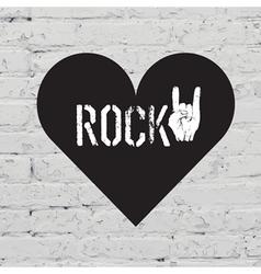 rock on symbol on white bricks concept vector image vector image