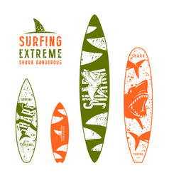 surfboard graphic design with the image of sharks vector image