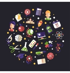 Back to school flat design icons circle vector image vector image