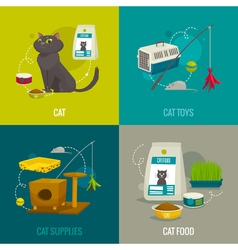 Cat objects square compositions cartoon pet care vector