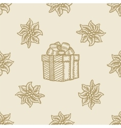poinsettia christmas gift box flower pattern vector image