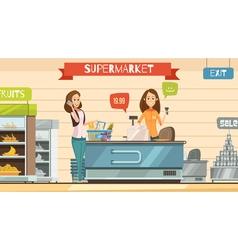 Supermarket cashier at register retro cartoon vector