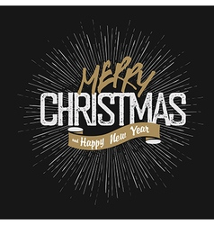 Christmas greeting on hand drawn background Retro vector image