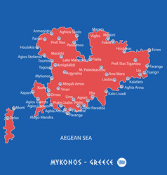 island of mykonos in greece red map vector image vector image