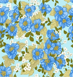 Seamless pattern of blue wildflowers vector image vector image