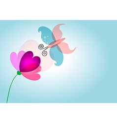 Spring nature love flower butterfly transparent vector image vector image