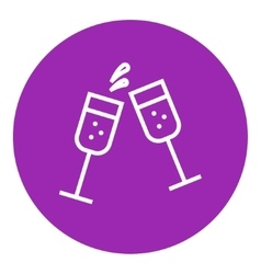 Two glasses of champaign line icon vector image