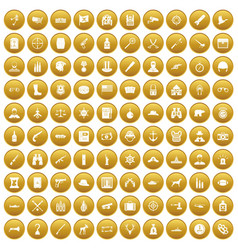 100 bullet icons set gold vector image