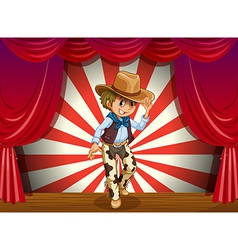 A cowboy in the middle of the stage vector image