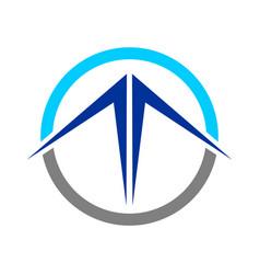 abstract blue mountain circle emblem vector image vector image