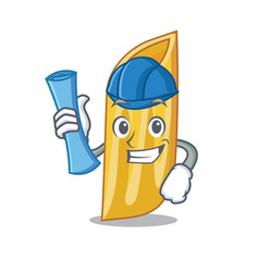 Architect penne pasta character cartoon vector