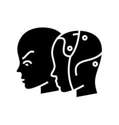 Artificial intellect black icon concept vector