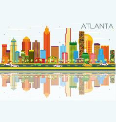 Atlanta skyline with color buildings blue sky vector