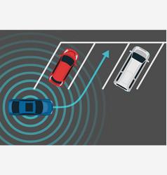 Autonomous car parking top view vector