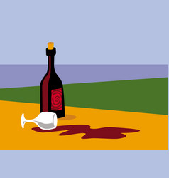 bad mood spilled wine on table vector image