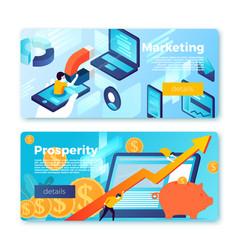Banners rising profit inbound marketing vector