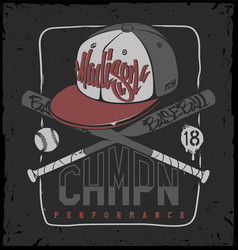 Baseball club print for sportswear vector