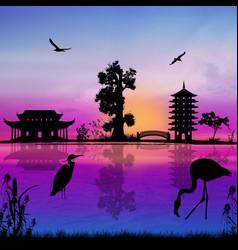 Beautiful asian landscape vector
