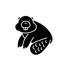 Beaver black icon sign on isolated vector