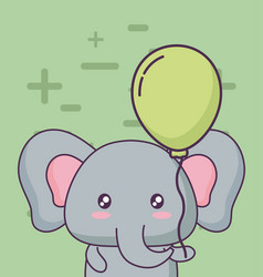 birthday card with cute elephant kawaii character vector image