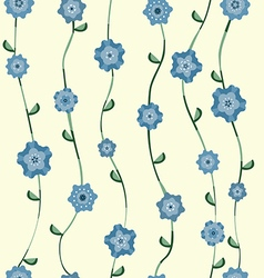 Blue flowers pattern with stalk and leaves vector