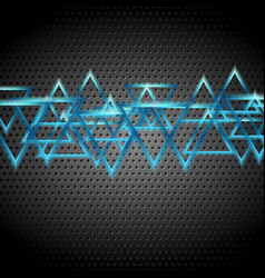 blue glossy shiny triangles on dark perforated vector image