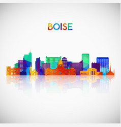 Boise skyline silhouette in colorful geometric vector