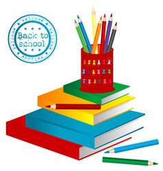 books and pencils vector image vector image