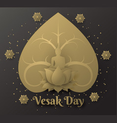 Buddha on lotus happy vesak day background with vector