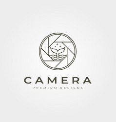Camera lens photography icon logo line art with vector