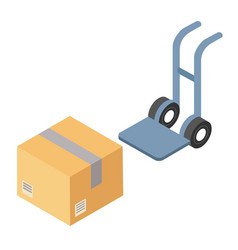Cargo cardboard box flat design delivery service vector