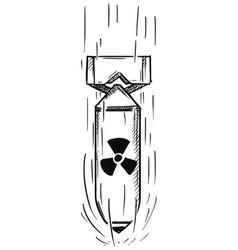 Cartoon air bomb with nuclear atomic symbol vector