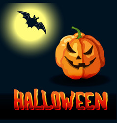 cartoon halloween title full moon and spooky face vector image