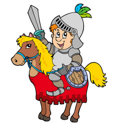 Cartoon knight sitting on horse vector