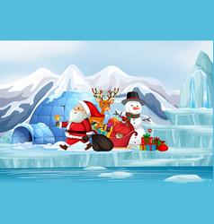 Christmas scene with santa and snowman vector
