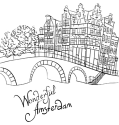 city view of Amsterdam canal and bridge vector image