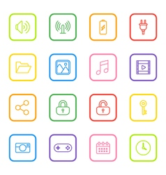 Colorful line web icon set rounded rectangle frame vector