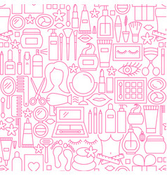 Cosmetics white line seamless pattern vector