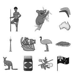 country australia monochrome icons in set vector image