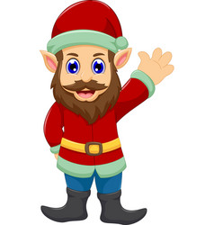 cute cartoon santa claus waving vector image