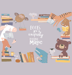 cute frame composed animals reading books vector image