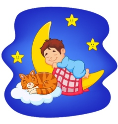 Cute little boy with cat sleeping on the moon vector image