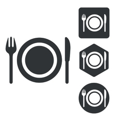 Dishware icon set monochrome vector image