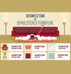 Disinfection upholstered furniture vector