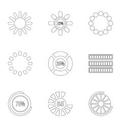 Download icons set outline style vector