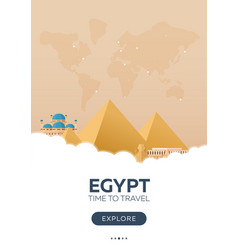 egypt time to travel travel poster flat vector image